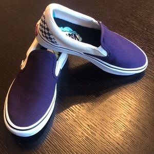 Vans purple checked Comfy Cush slip on sneakers